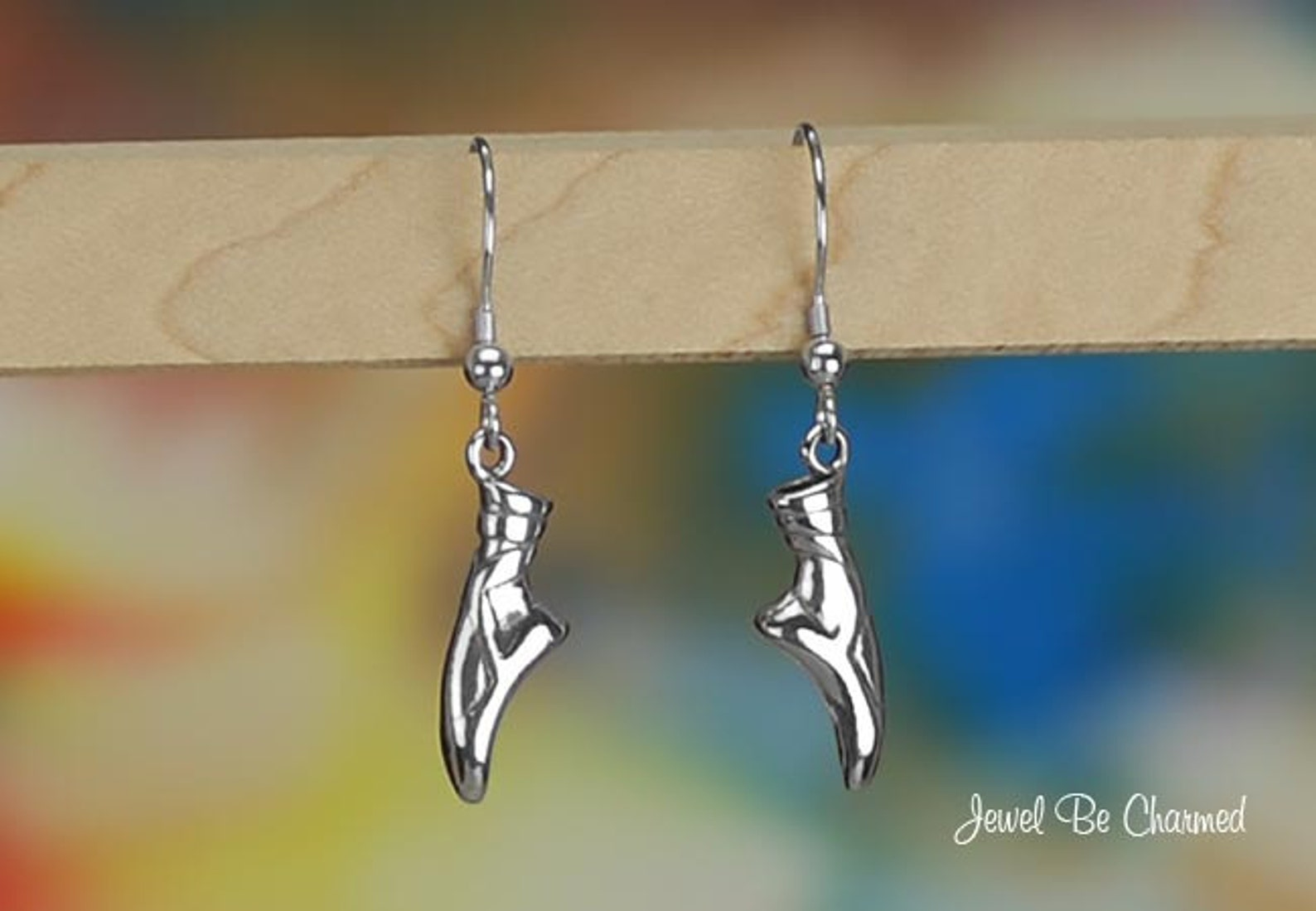 sterling silver en pointe ballet slipper earrings fishhook solid .925