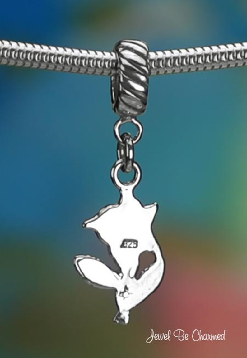 Sterling Silver Simple Rose Charm or European Style Charm Bracelet 925