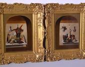 Pair Antique British Oil painting on Canvas 18th - 19th Century