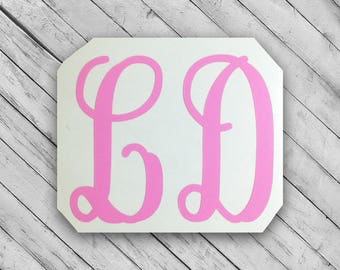 two letter monogram vinyl decal 2 letter monogram sticker monogrammed decal preppy sticker personalized stickers two initial decal
