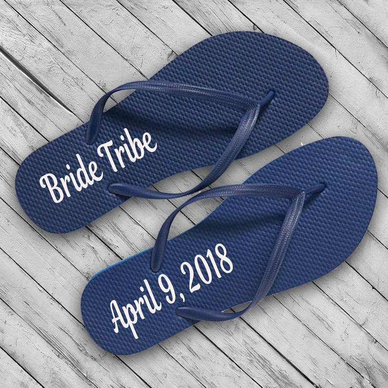 2c96b0d4f2f51 Wedding Bride w Date Flip Flops DECAL Bridal Party Flip