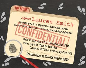 Spy invitations Etsy