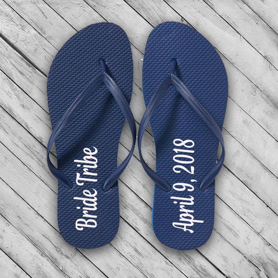 4bc22946accb76 Wedding Bride w Date Flip Flops DECAL Bridal Party Flip