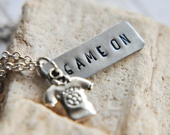 Soccer Necklace - Soccer Jewelry - Team Mom Gift - Team Gifts - Soccer Gift - School Spirit - Game On Necklace - Gift for Mom - Soccer Mom