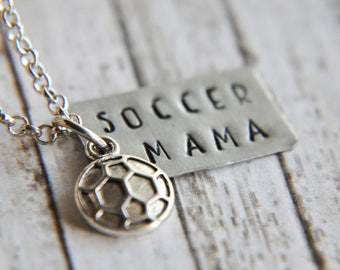 Soccer Mama Necklace - Soccer Jewelry - Team Mom Gift - Team Gifts - Soccer Gift - School Spirit - Hand Stamped - Gift for Mom - Soccer Mom