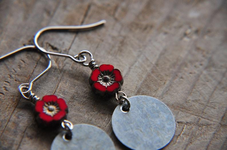Lightweight Earrings Red Flower Earrings Red Earrings Earrings for Women Gift for Her Spring Jewelry Petite Earrings