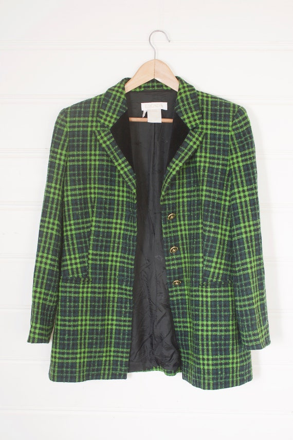 Vintage 90s ESCADA green tweed check oversized bla