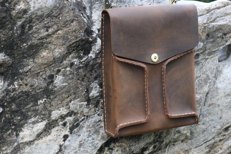 Tool bag,Waxed thread handmade,Gift. Laptop bag,Shoulder bag leather messenger bag