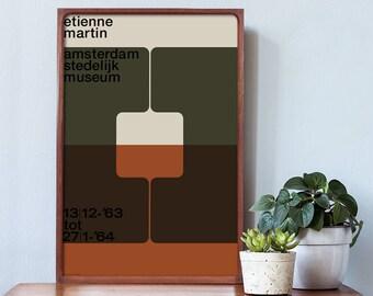 WIM CROUWEL Poster Print Mid Century Modern Typography Swiss Helvetica Stedelijk Jan Tschichold Etienne Martin Architecture + Free Shipping