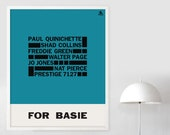 1958 FOR COUNT BASIE Poster Print Mid Century Modern Paul Quinichette Swiss Blue Note Typography John Coltrane Jazz Bauhaus Free Shipping