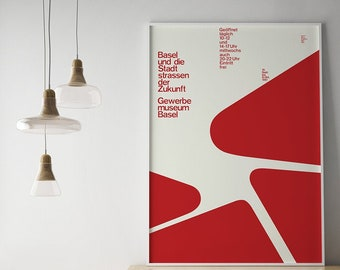 1961 SWISS TYPOGRAPHY Armin Hofmann Poster Print Mid Century Modern Exhibition Gewerbemuseum Basel Bauhaus Ellsworth Kelly + Free Shipping