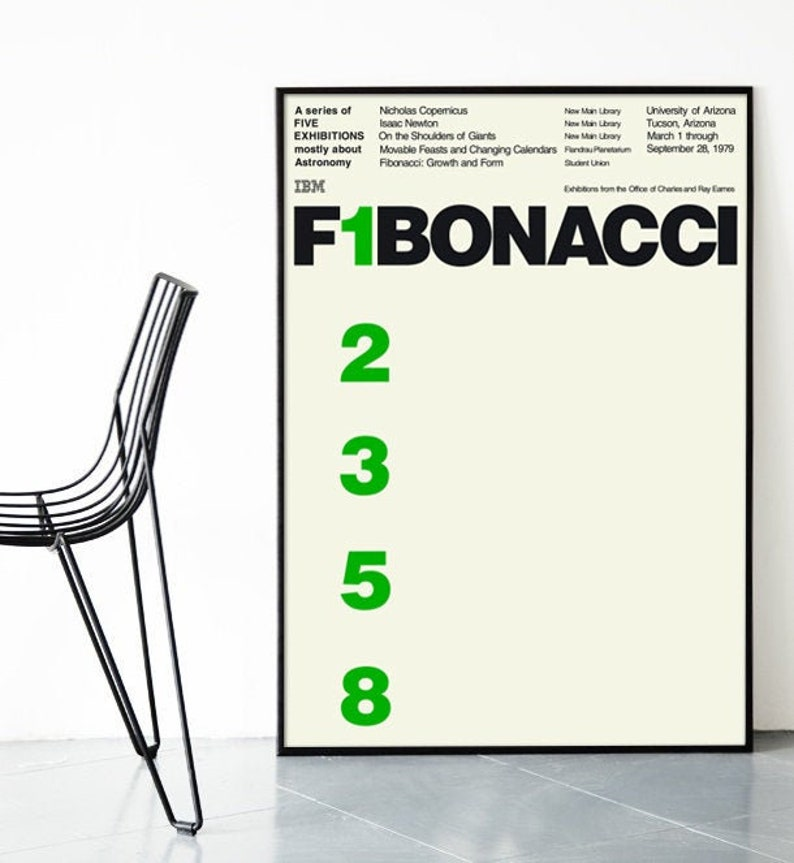 IBM Ray Charles Eames Fibonacci Poster Print Mid Century image 0