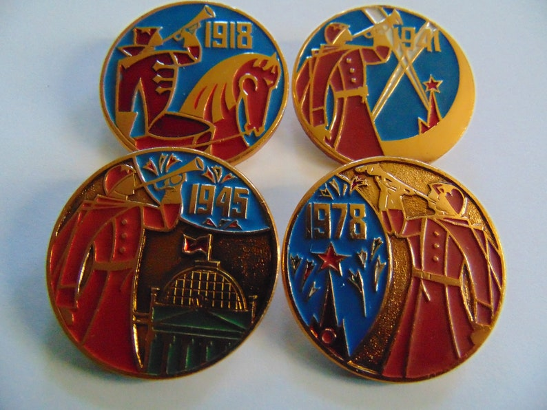 Set of 4 x icons.Made in the USSR The years of the Soviet Union. Vintage