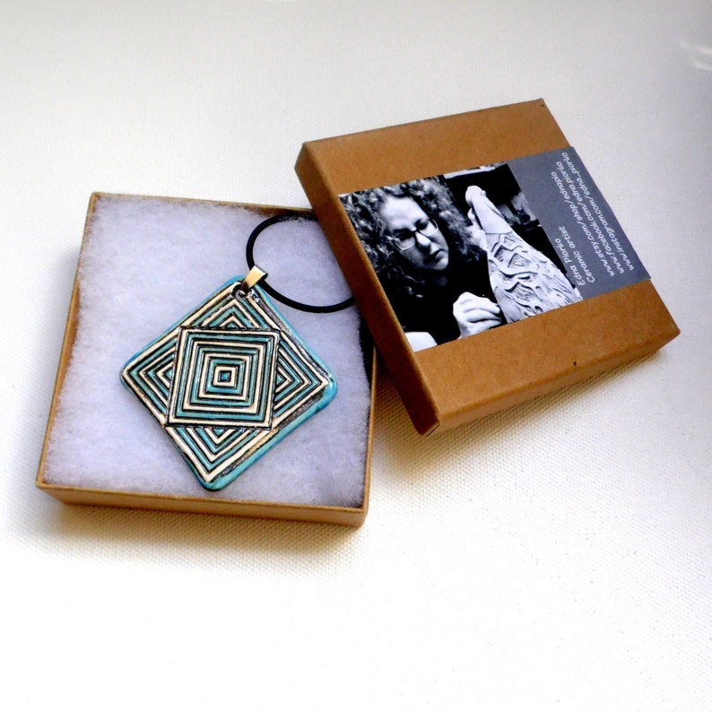 Blue and white ceramic pendant and statement jewelry