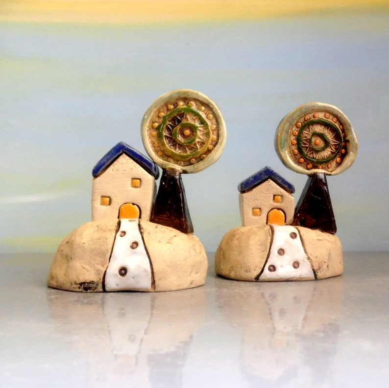 Ceramic Miniature House Clay Beach Cottage Home Decor