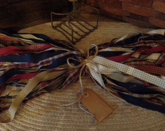 """50 Primitive Homespun Fabric Strips~Americana Collection~ 1"""" x 18"""" ~Ties~Bows~Crafts~Accents~"""