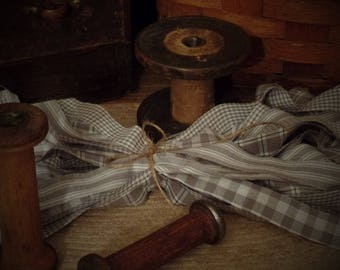 """50 Primitive Homespun Fabric Strips~Smoke Gray~ 1"""" x 18"""" ~Ties~Bows~Crafts~Accents~"""