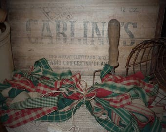 """50 Primitive Homespun Fabric Strips~Christmas Collection~ 1"""" x 18"""" ~Ties~Bows~Crafts~Accents~"""