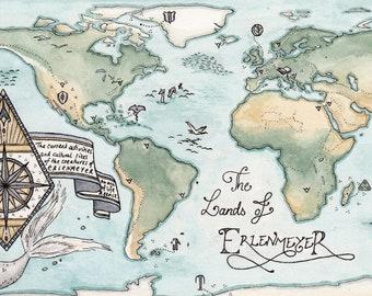 Lands of Erlenmeyer // Map ~ A3 Art Print from Original Ink & Watercolour Piece