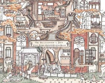 The Philosopher's Den ~ A3 Art Print from Original Ink & Watercolour Piece