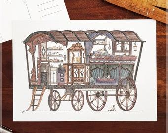 Gypsy Caravan featuring 10 Hidden Cats ~ A4 Art Print from Original Ink & Watercolour Piece
