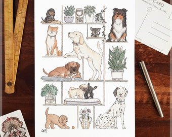 Puppies and Plants ~ A4 Art Print from Original Ink & Watercolour Piece