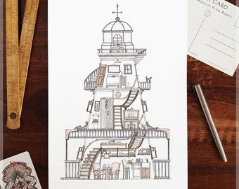 Lighthouse featuring 10 Hidden Cats ~ A4 Art Print from Original Ink & Watercolour Piece