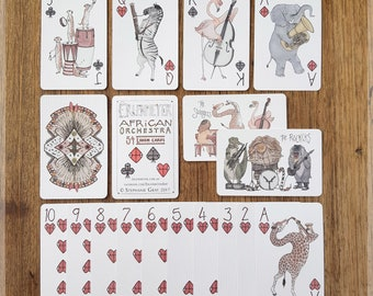 African Orchestra Playing Cards ~ Hand Illustrated Playing Cards featuring Animals Playing Musical Instruments