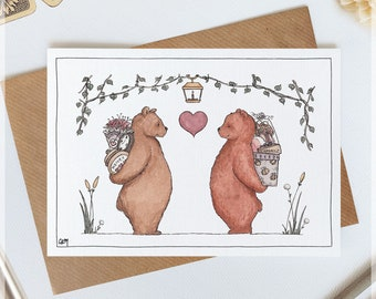 Wedding // Romantic Cards ~ Original Greeting Cards with Watercolour & Ink Illustration