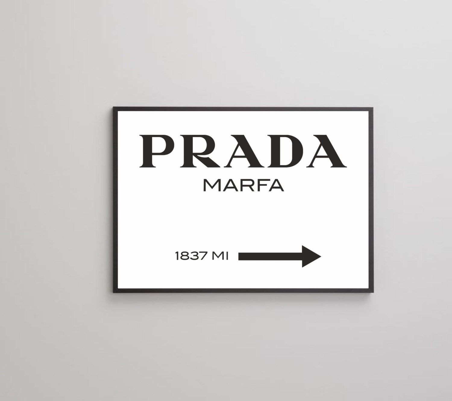 prada marfa poster print on paper or canvas up to a0 size etsy