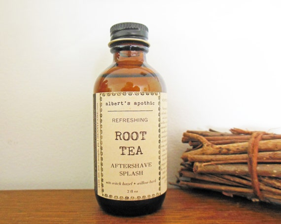 root tea aftershave splash | albert's apothic bay rum aftershave with notes of sassafras, vetiver, caraway, birch | 2 oz glass bottle