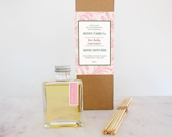 bee balm + rosewater reed diffuser | 5 oz bottle + 10 extra thick reeds