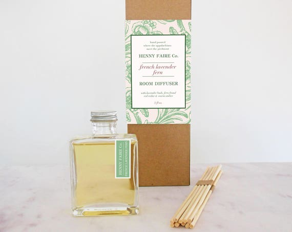 french lavender + fern reed diffuser | 5 oz bottle + 10 extra thick reeds