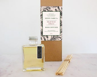 black birch tobacco reed diffuser   minimalist room diffuser with fresh unisex scent   5 oz bottle + 10 reeds