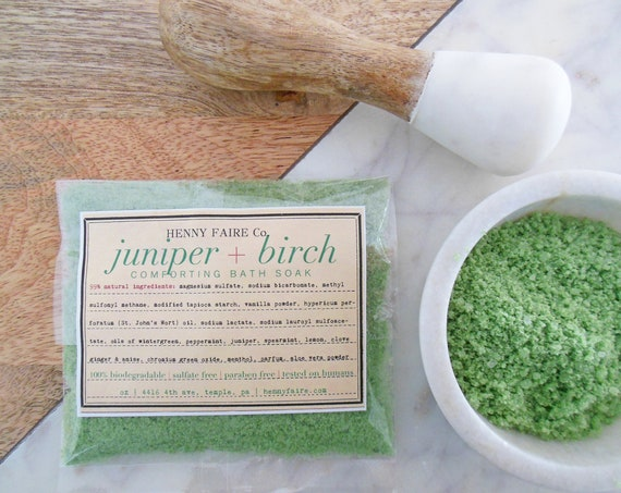 juniper birch comforting bath soak | compostable single bath packet for tired muscles and general malaise
