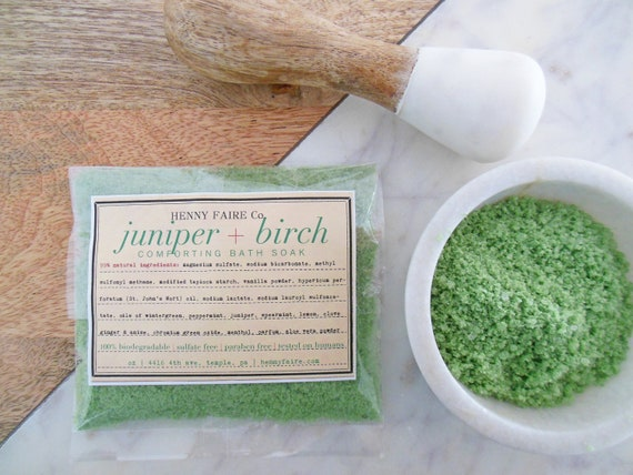 juniper + birch comforting bath soak | compostable single bath packet for tired muscles and general malaise