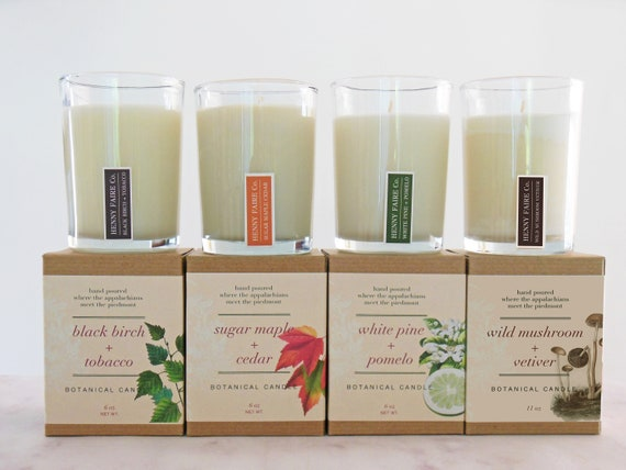appalachian trail candle set | sampler set of 4 forest scented candles in pine, vetiver, maple & more | 6 oz natural soy coconut wax candles