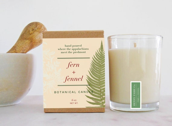 fern + fennel botanical candle | classic fougere scented coconut wax candle with essential oils & pure fragrance