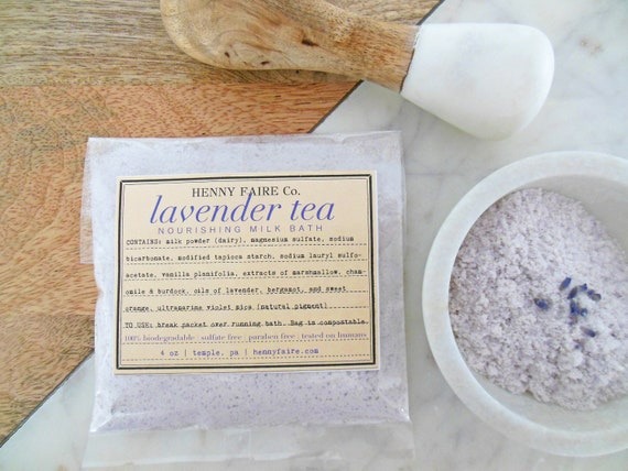 lavender tea milk bath | single bath packet in compostable bag
