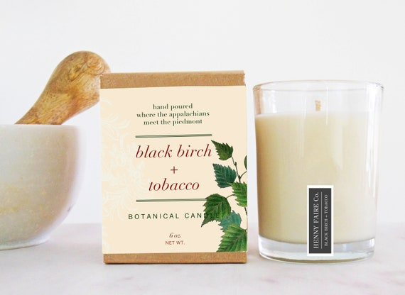 black birch + tobacco botanical candle