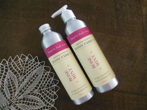 rose + mint hand & body wash | sulfate free