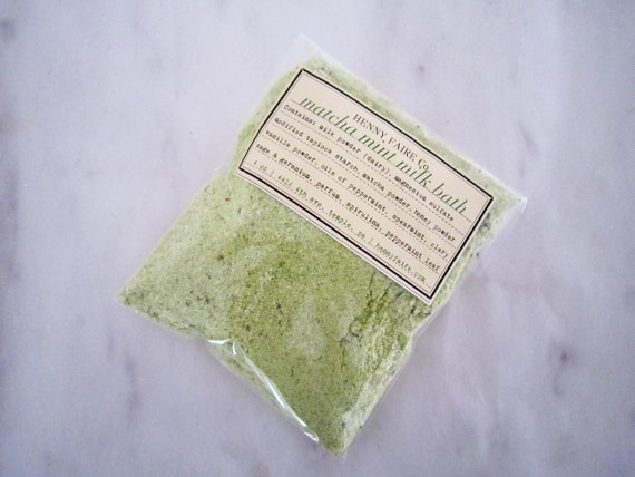 matcha mint milk bath | single bath packet in compostable bag