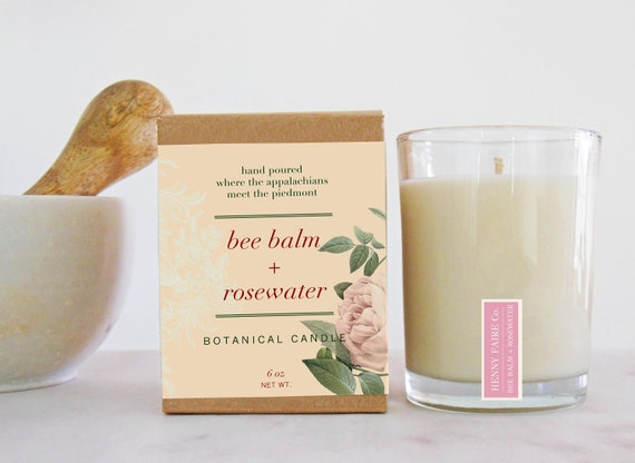 bee balm + rosewater botanical candle