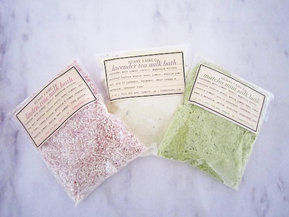 luxury bath milk sampler set | Linden Rose, Lavender Tea, and Matcha Mint