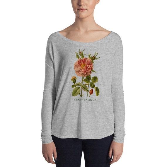 HF Vintage Rose Boatneck Long Sleeve Tee in Gray Heather