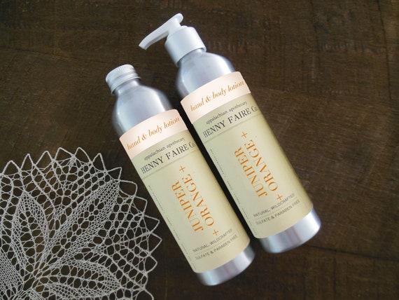 juniper + orange body lotion | natural citrus body lotion | citrus woods unisex perfume body care | 8 oz