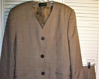 5cc74f2d53d7 Suit 12, Skirt Suit, 100% Wool Houndstooth Suit by Harve Benard, Longer  Jacket Suit, - see details