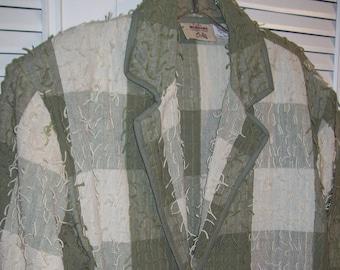 Jacket Large, 16, Fringy Cotton Jacket, Vintage Travel Saturday Jacket by Fiorlini see details