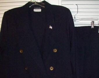 Pantsuit 14 - 16, Vintage Navy Double Breasted Pantsuit, Elastic Waist on Pants, - see details