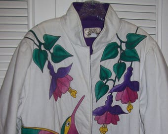 Jacket Large, Hummingbird Jacket, Hand-Painted Gorgeous Detail of Our Favorite Bird see details
